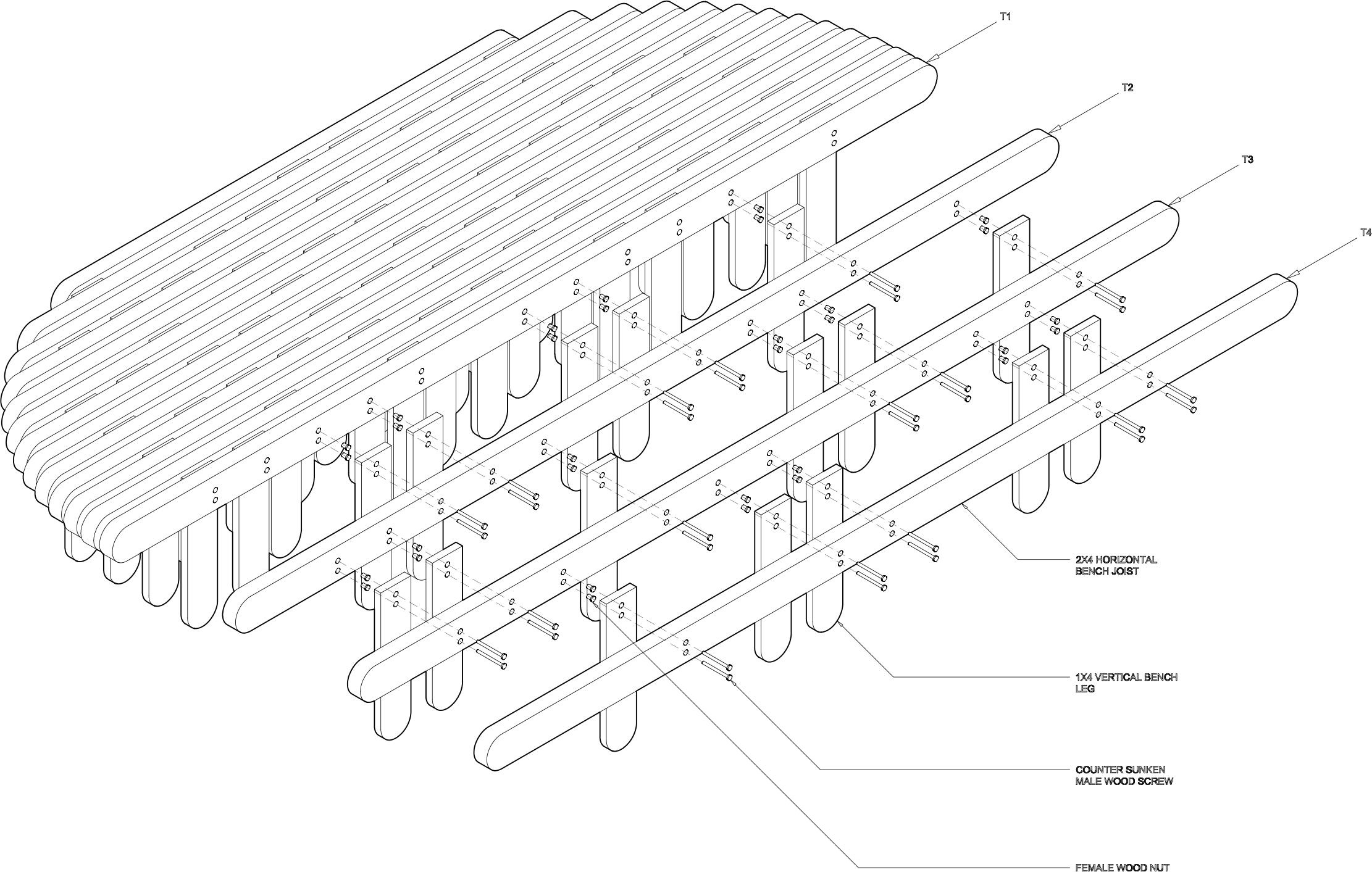 Bench axonometric